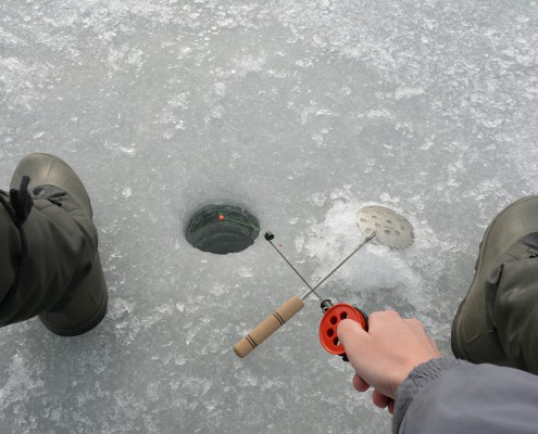 Ice fishing from above